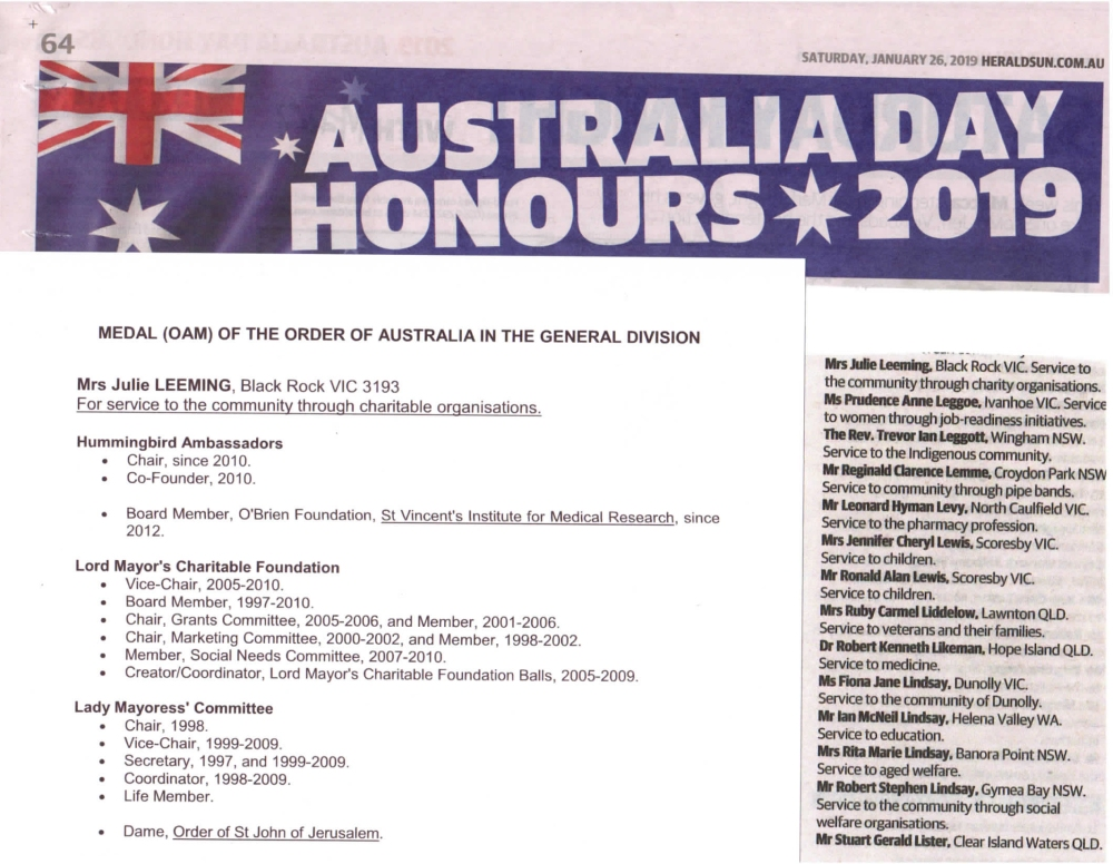 2019_01_26 julie leeming australia day honour